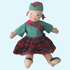 Vintage 1940's Cloth Scottish Girl Doll