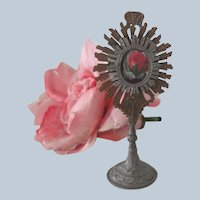 Old French or German Miniature Metal Catholic Religious Doll / Dollhouse Monstrance c1900