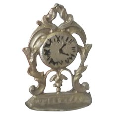 Old Victorian Gold Metal German Dollhouse Clock c1900