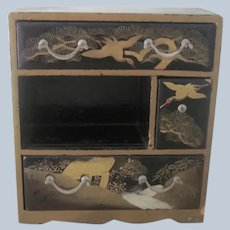Vintage Japanese Handpainted Wooden Doll / Dollhouse Dresser