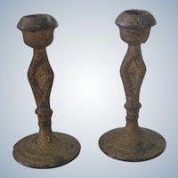 Antique Pair Miniature Gold Dollhouse Candleholders