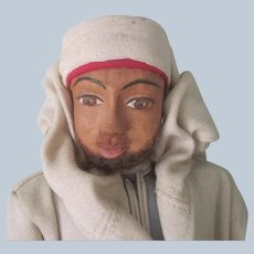 Vintage Handmade Leather Moroccan Tribesman Foreign Doll