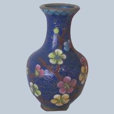 Vintage Chinese Cloisonne' Miniature Dollhouse Vase / Urn with Enameled Flowers