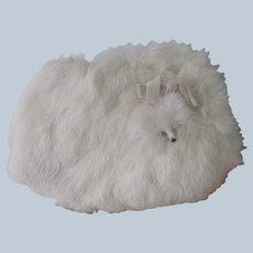 Old Vintage Child or Doll's White Rabbit Fur Winter Muff