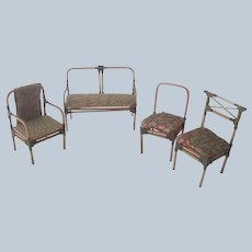Vintage Dollhouse Doll Furniture Parlour Set Chinese Japanese Bamboo and Silk c1930's- 40's