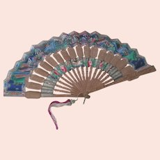 Antique Chinese Fan Hand Painted Carved Wood and Paper Folding c 1800's