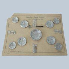 Antique Shackmann Pewter Dollhouse Dishes on Original Card c1900