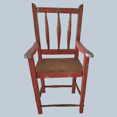 Antique Italian Doll Chair with Gold Painted Detailing c1800's