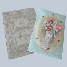 Old German Funeral Remembrance Decorative Angel Die Cut Card with Box c1900