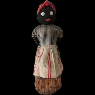 Antique Cloth Black Folk Art Brush Doll c1920