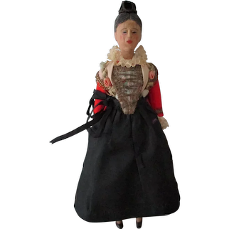 Vintage Hand Carved Wooden Swiss Folk Doll  c1940