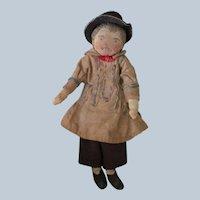 Antique Cloth Doll Hand Sewn Folk Art Miniature Dollhouse c1910?