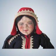 Vintage Cloth and Felt Tea Cozy Doll Martha Martta Finnish Scandinavian Laplander c1940