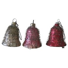 Vintage 1930's Japanese Glass and Wire Wrapped Christmas Bell Ornaments Decorations Set of Three