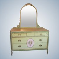Vintage French Style Dresser Chest of Drawers Hand Painted Floral Mirrored  C1930