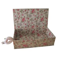 Old French Fabric Covered Large Boudoir Box w/ Birds and Flowers c1920