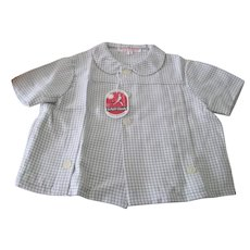 Vintage French Little Girl's Blouse 1960's Old Store Stock Gingham Check Size 4 Years