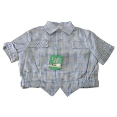 Vintage French Little Boy's Shirt 1960's Old Store Stock Size 2 Years