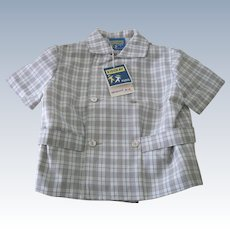 Vintage French Little Boy's Shirt 1960's Old Store Stock Herringbone  Size 4 Years
