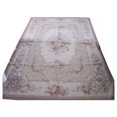 Vintage Wool Needlepoint Floral Rose Aubusson Rug 6' x 9'