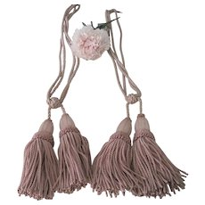 Vintage French Pale Dusty Rose Pink Curtain Tassel Tie Back Pair