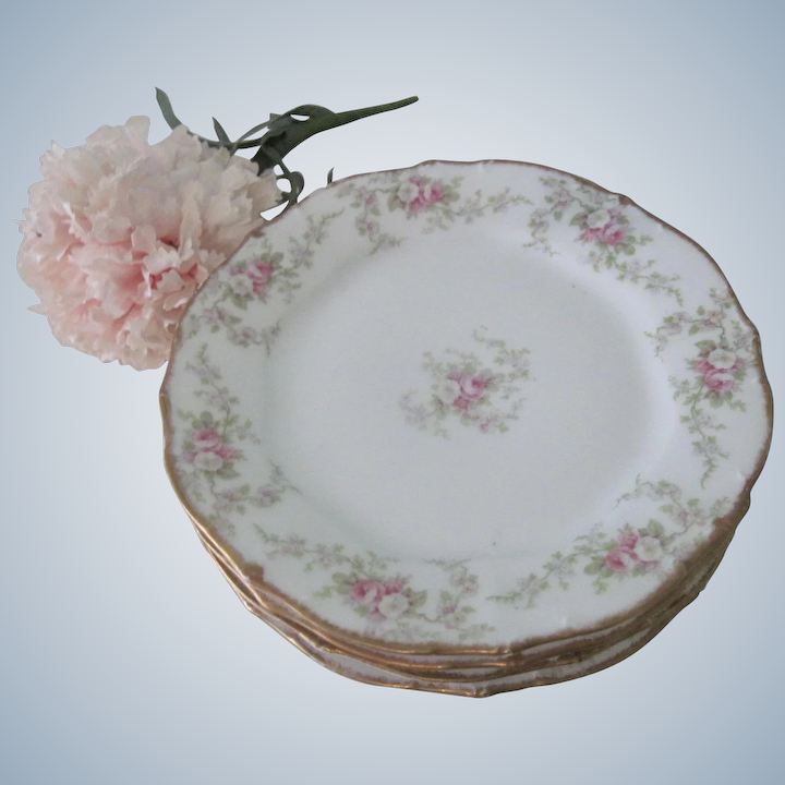 Antique French Limoges Elite Works Porcelain Floral Rose 6 Dessert Plates Gold Trim Set Of 4