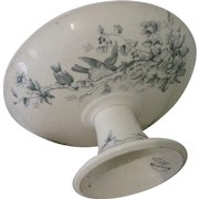 "Antique French Longwy ""Mignon"" Ceramic Transferware Footed Pedestal Cake Stand Compote w/Birds"