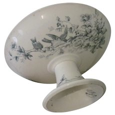 """Antique French Longwy """"Mignon"""" Ceramic Transferware Footed Pedestal Cake Stand Compote w/Birds"""