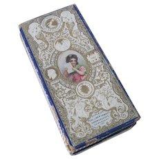 Old Victorian Lithograph Double Irish Linen Handkerchief Box Doll Accessories Belfast