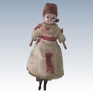 "Antique German Papier Mache & Wood 8"" Doll All Original"