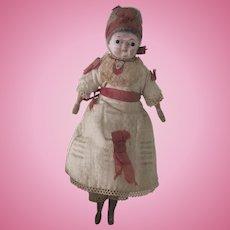 "Antique German Papier Mache & Wood 8"" Doll All Original"