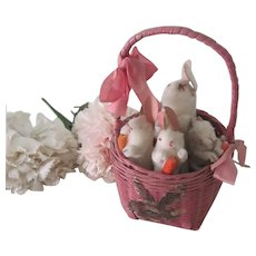 Vintage Japanese Spun Cotton Easter Bunnies in Basket