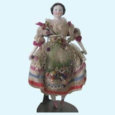 Antique German Miniature Dollhouse China Doll All Original