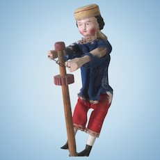 Antique German Wood and Papier Mache Mechanical Doll Toy