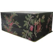 Vintage French Fabric Covered Boudoir Sewing Trinket Jewelry Box Birds Flowers c1940