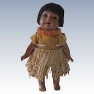 "Antique German Schoenau and Hoffmeister Black Bisque  Hawaiian ""Hanna"" Doll"