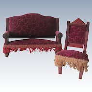 Antique German Miniature Dollhouse Velvet Covered Settee and Chair Parlor Set