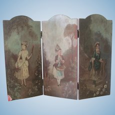 Antique French Miniature Doll Dressing Screen French Fashion C1900