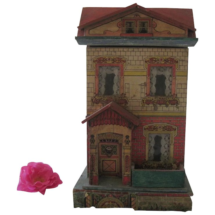 Antique Victorian Lithographed Small Dollhouse 14 C1910 Sold Ruby