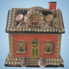 """Antique Shell Covered Miniature Dollhouse Toy Candy Container """"Alexandra Cottage"""" c1900"""