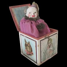 Vintage Papier Mache Clown Doll Toy in Lithographed Box