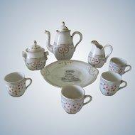Antique Mid 19thc Children's/ Doll's Tea/Coffee Set Hand Painted Floral Porcelain w/ Angel