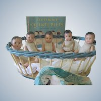 Vintage set of Five Dionne Quintuplet Composition Dolls c1935