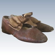 Antique Victorian Little Girl's Leather Fancy Shoes/ pincushions with Ribbons c1900