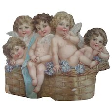 Antique Victorian Brewery Advertising Die Cut for the Meier Zobelein Co with Cherubs/Angels