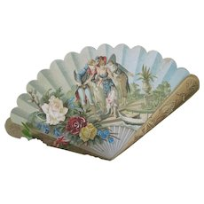 Antique Romantic Victorian Lithographed Decorative Fan on Heavy Card