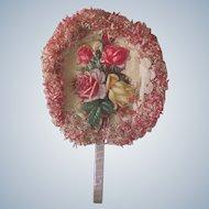 Vintage Souvenir Fan Rose Die Cut and Crepe Paper 4th of July Grants Pass, Oregon C1927