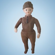 Antique WWI Liberty Boy American Soldier Doll by Ideal c1915