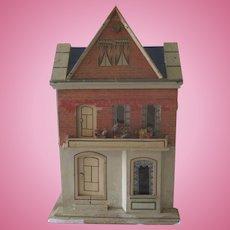 Antique German Gottschalk Blue Roof Dollhouse w/ Gable c1900