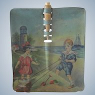 Old Victorian Children's Toy Lithographed Shovel Doll Accessory c1900